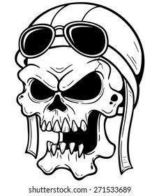 8a75dc0be207 Vector illustration of Skull wearing helmet