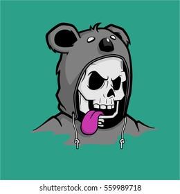 Vector Illustration of Skull Wearing a Sweater Jacket Koala