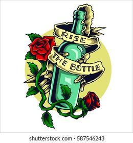 vector illustration of skull's hand holding the beer bottle