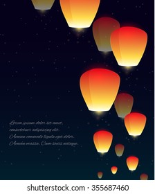 Vector illustration of sky lanterns, stars and a place for text for your design