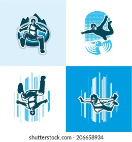 Vector illustration skydiver icons set
