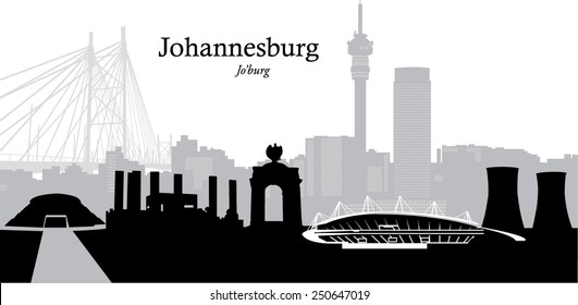 Vector illustration of the skyline cityscape of Johannesburg South Africa