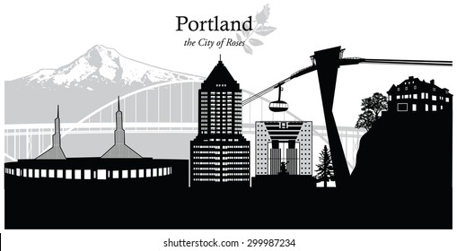 Vector illustration of the skyline cityscape of Portland, Oregon