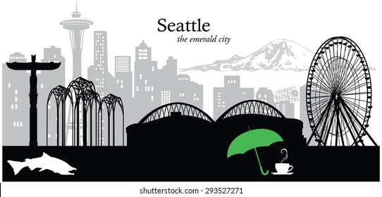 Vector illustration of the skyline cityscape of Seattle, Washington