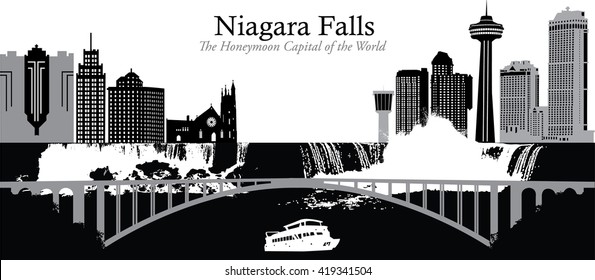 Vector illustration of the skyline cityscapes of the twin cities of Niagara Falls