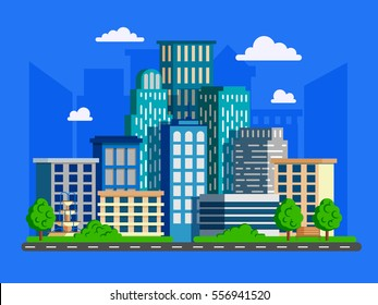 Vector illustration with skyscrapers in flat design. Big green modern city with road and high buildings.Can used for web banner, info graphic and brochure.