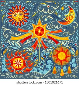 vector illustration of the Slavic spring festival, with the sun, crescent and traditional attributes