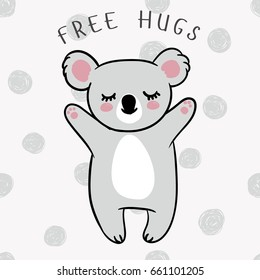 Vector illustration of a sleeping koala with closed eyes on a seamless background with hand drawn sketch dots. Doodle polka dot texture as a backdrop.Animal of Australia. Free hugs. Baby shower