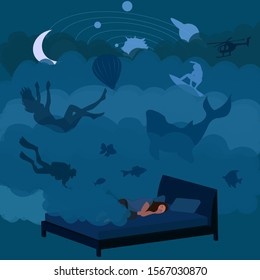 Vector illustration of sleeping  woman and clouds with dreams and nightmares. Lucid dreaming vector illustration. Sleep control concept.