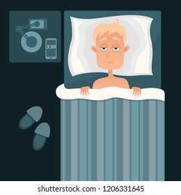 Vector illustration of Sleepless man face cartoon character suffers from insomnia. Guy with open eyes in darkness night lying on bed concept. Sad and tired male awake, guy with cant dream problem.