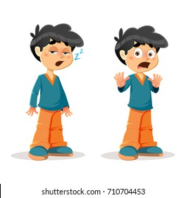 Vector Illustration of Sleepy Shocked Young Boy Body Language and Expressions