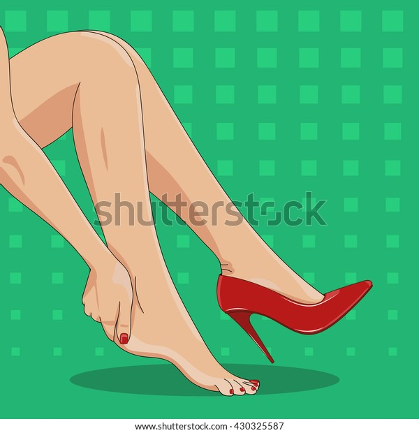 Vector illustration of slender female legs,sitting tired of high spike heels, one red shoe on. Woman's hand touching ankle, heel tendon, foot.High heels hurt and pain concept.Pop art green background