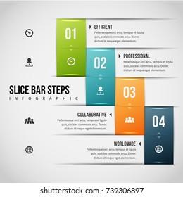 Vector illustration of slice bar steps infographic design element.