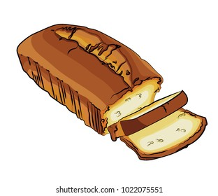 A vector illustration of a sliced pound cake, bread, isolated on a white background