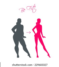 Vector illustration of Slim and fat girls