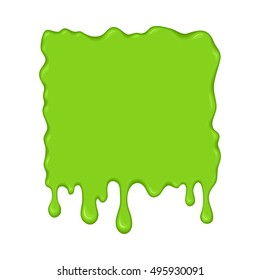 Vector illustration - slime drips and flowing. Abstract green splash liquid. Halloween banner in cartoon style. Stain shape isolated on white background