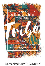 Vector illustration with the slogan for t-shirts, posters, card and other uses. Boho chic. Ethnic style. Fashion trend.