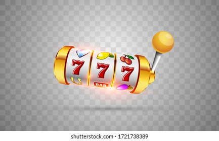 Vector illustration slot machine with lucky three sevens jackpot in realistic style on transparent background