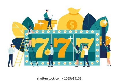 Vector illustration, a slot machine shows three sevens winnings, a jackpot in a casino, a super prize, a combination of numbers brings luck