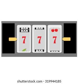 Vector illustration slot machine symbols cherry, seven and bar. Lucky seven