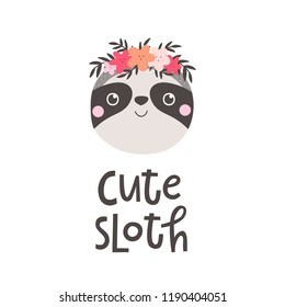 Vector illustration with sloth and text Cute sloth.