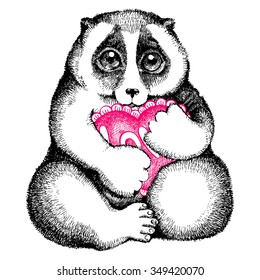 Vector illustration of Slow loris with a heart. Hand drawn by ink. Isolated illustration on white background