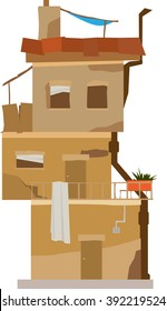 Vector illustration of a slum house  on white background.