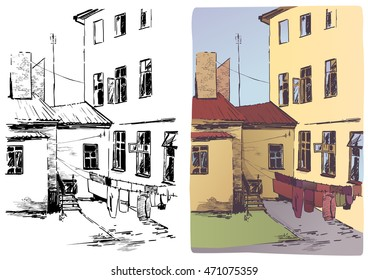 Vector illustration of a small backyard.