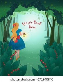 Vector illustration of small girl with lantern on background of fairy forest. With your text. Alice in Wonderland