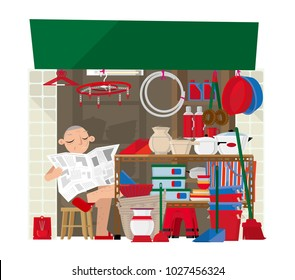 Vector illustration of a small household goods store in Hong Kong