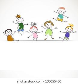 Vector Illustration of Small Kids