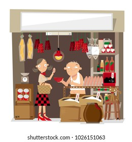 Vector illustration of a small local grocery store in Hong Kong