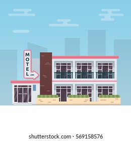 Vector illustration of small motel building on the city