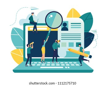 Vector illustration, small people fill out the form, modern concept for web banners, infographics, websites, printed products, filling out resumes, hiring employees