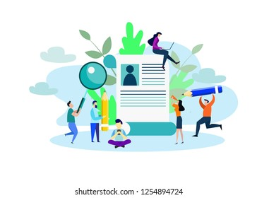 vector illustration of small people hiring employees