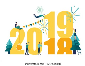 Vector illustration small people are preparing for the new year, are engaged in decoration, the inscription New Year 2019