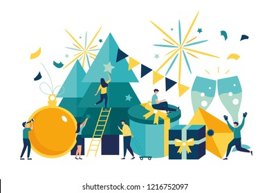 Vector illustration small people are preparing for the new year, are engaged in decoration, corporate in the office at work