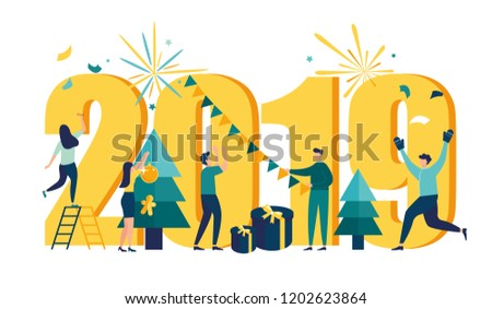 vector illustration small people are preparing for the new year are engaged in decoration