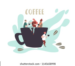 Vector illustration of small people sit on a large cup, drink and talk . Concept coffee break, coffee shop, communication and relaxation