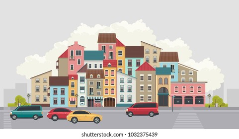 vector illustration of a small town with colorful facades city street