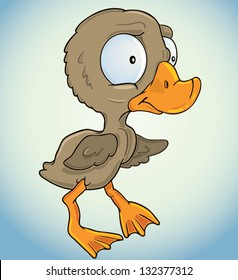 Vector illustration of a small ugly duckling