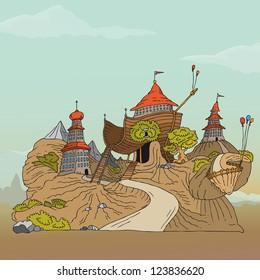 Vector illustration of small village landscape