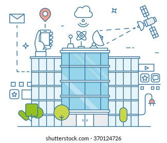 Vector illustration of smart city and internet of things, future technology for living. Smart environments