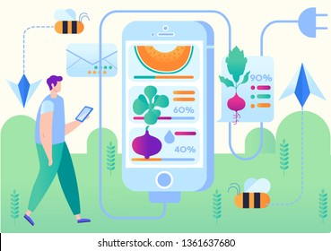 Vector Illustration Smart Farm Mobile Application. Man Receives Information about Crop Growth via Smartphone. Foreground Smartphone Screen with Indicator Growth Vegetables. Cartoon Flat.