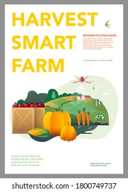 Vector Illustration of smart farm, ranch, agriculture, farming. Harvest of pumpkins, apples and corn. Thanksgiving day. vector illustration. Template for a poster, annual report