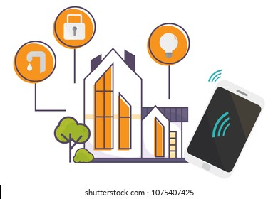Vector illustration for Smart Home technology promo. House with a wirelees smart technology icons and a smartphone. Innovation concept for Internet of Things and Domotics or Home Automation materials