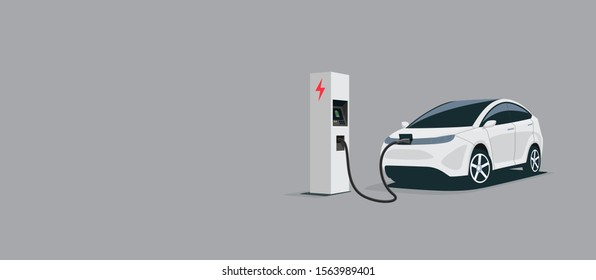 Vector illustration of a smart luxury white electric plug car charging at the electro charger station. Car battery getting fast recharged. Clean e-mobility illustration isolated on grey background.
