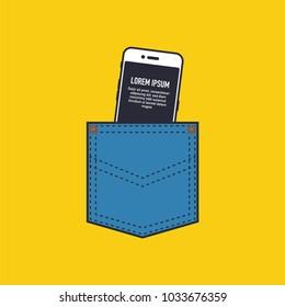 Vector illustration of smart phone in pocket.