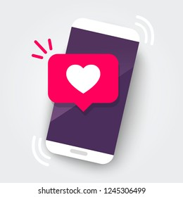Vector illustration smartphone with heart emoji speech bubble get message on screen. Social network and mobile device concept. Graphic for websites, web banner.