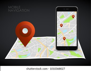 Vector illustration of smartphone with mobile navigation app on screen. Route map with symbols showing location of man. Vector illustration.